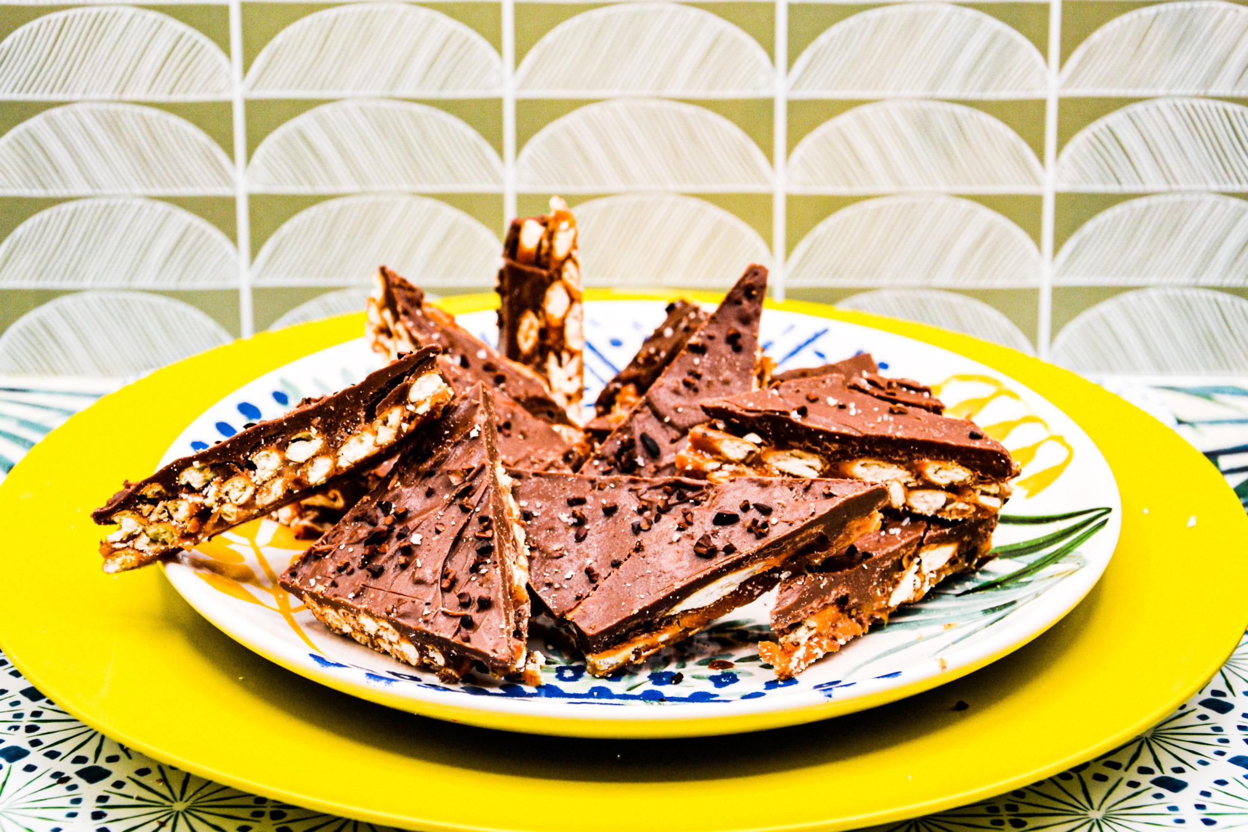 Croquants Bretzels,caramel, chocolat